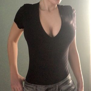 MARIBEL Double Fabric V-Neck Bodysuit in BLACK